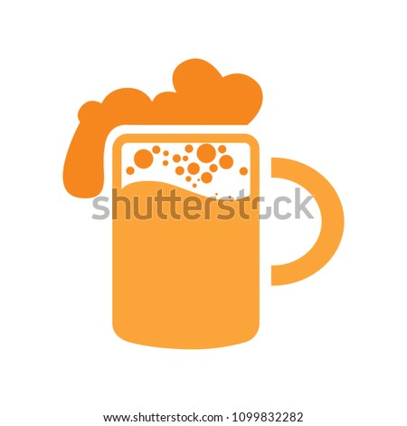 Glass of beer illustration, vector beer mug - drink alcohol symbol, bar sign