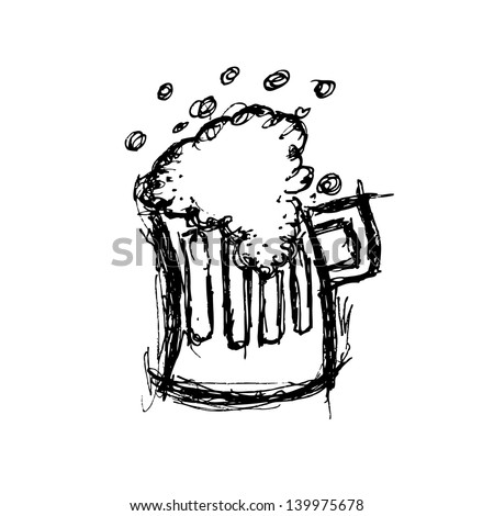 glass of beer in doodle style
