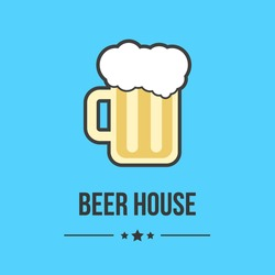 glass of beer isolated on blue background. concept of brasserie, oktoberfest, restaurant business, cheerful company, beer house or label. flat style logo design trendy modern vector illustration
