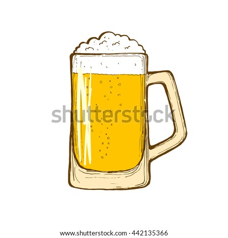 Glass of beer isolated on white background, hand-drawing. Vector.