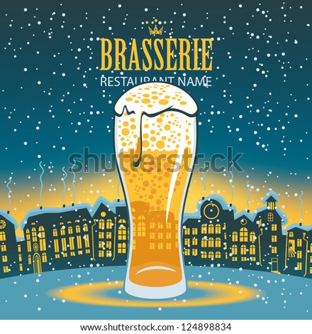 glass of beer on the background of a winter city landscape