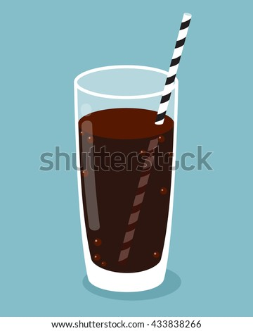 glass of cola with straw