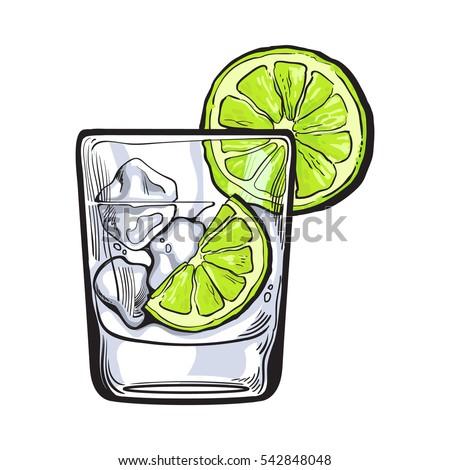 glass of gin  vodka  soda water
