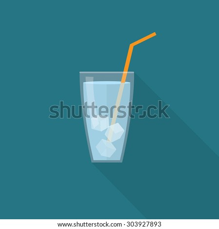 Glass of Ice Water Flat Vector