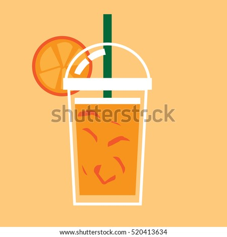 glass of iced orange juice with