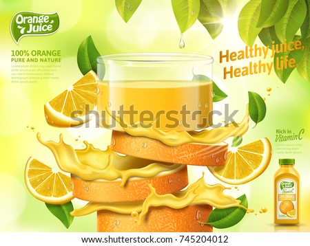 Shutterstock Glass of juice made from fresh sliced orange isolated on bokeh green background, 3d illustration bottle with label