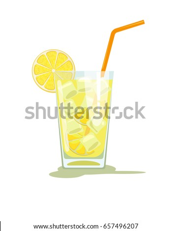 Glass of lemonade with ice. Lemon juice. Glass of lemon cocktail with straw. Vector illustration  isolated on white background