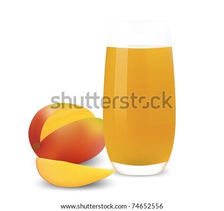 Cartoon Juice Glass Glass of Mango Juice