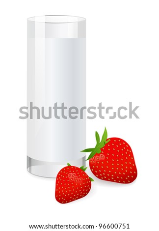 Glass of milk with strawberry. Vector illustration on white background