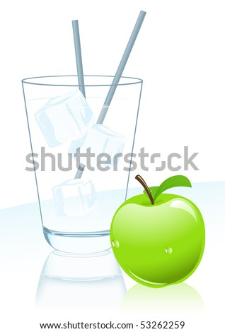 Glass of mineral water and apple, vector illustration