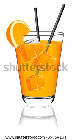 Glass of orange juice, vector illustration, EPS and AI files included - stock vector