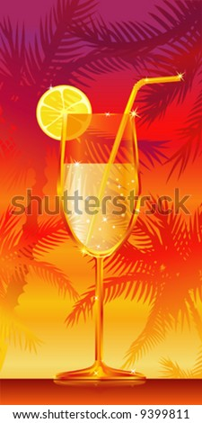 Glass of tropical cocktail with a slice of lemon - stock vector