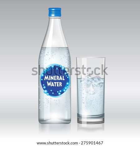 glass of water and bottle with