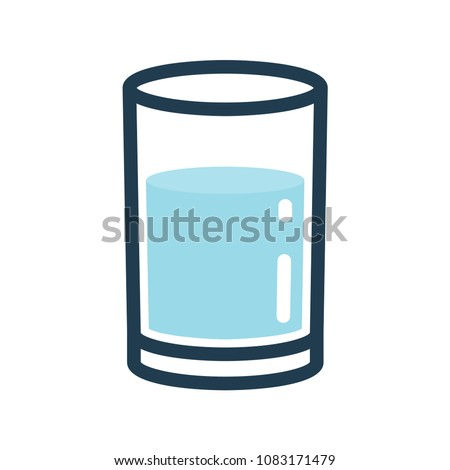 glass of water line color icon