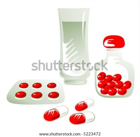 Glass of water, medicine in capsules, tablets in blister and tablets in jar.