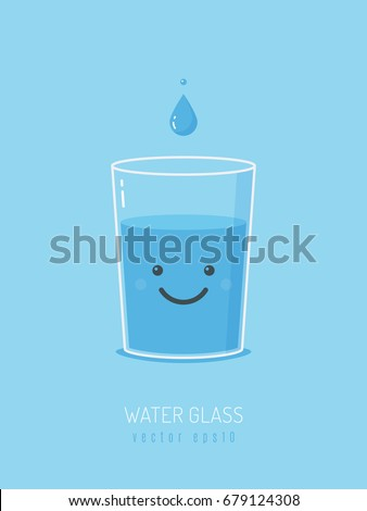 glass of water with cartoon