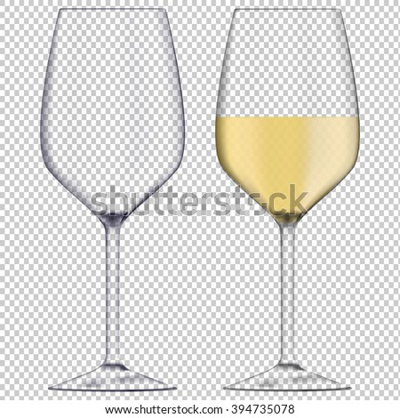 glass of white wine and empty