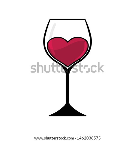 glass of wine with a heart