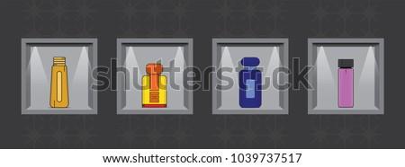 glass perfume bottle  lady spray