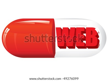 Glass pill with web word inside, vector illustration