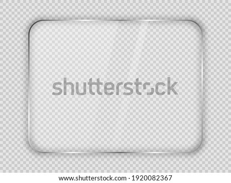 Glass plate in rounded rectangular frame isolated on transparent background. Vector illustration. Foto stock ©