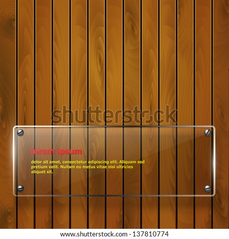 Glass plate on a wooden background. Vector eps10.