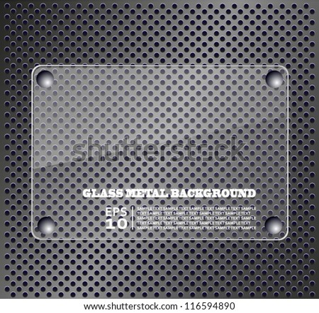 Glass plate on metallic background