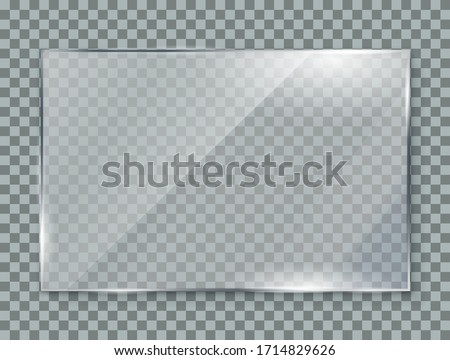 Glass plate on transparent background, clear glass showcase, realistic window mockup, acrylic and glass texture with glares and light, realistic transparent glass window in rectangle frame