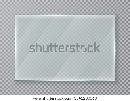 Glass plate on transparent background. Realistic transparent glass. Vector illustration.