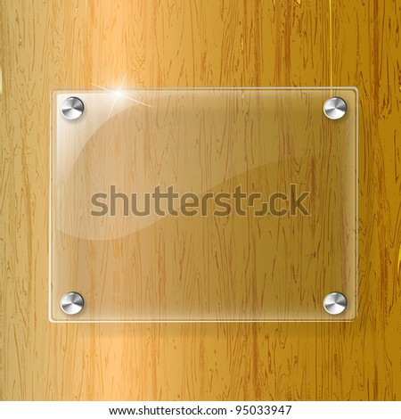 Glass plate on Wood background - Vector Illustration