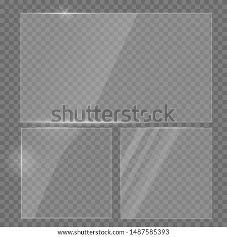 Glass plate realistic vector set. Glass transparent banners set. Realistic window mockup. Reflecting rectangle glass banner. Realistic 3D design.