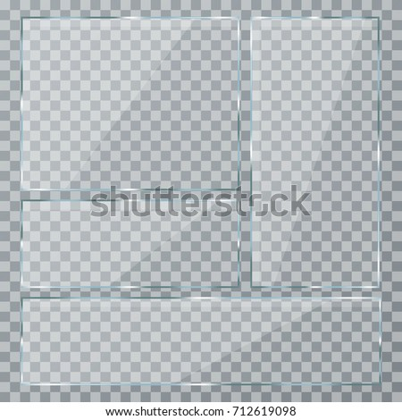 Glass plate set on transparent background. Clear glass showcase. Realistic window mockup. Vector