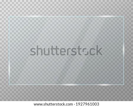 Glass Plate Transparency Frame Vector Illustration.