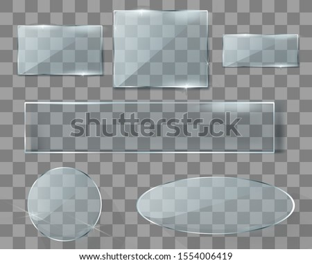 Glass plate with transparency. Showcase, banner, display, mirror, windows. Beautiful realistic reflection. Vector illustration on a transparent background.