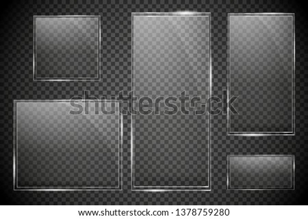 Glass plates are installed. Vector glass banners on a transparent background. Glass. Glass paintings. Color frames. Vector