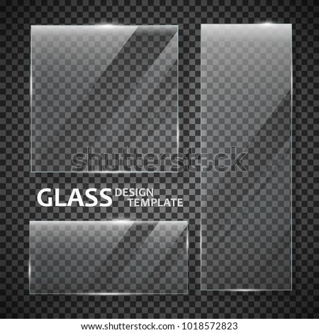 Glass plates set. Glass banners isolated on transparent background. Graphic concept for your design. Foto stock ©