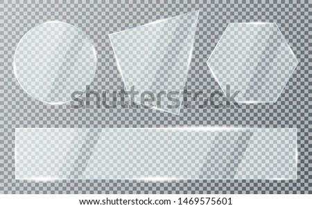 Glass plates set on transparent background. Acrylic and glass texture with glares and light. Realistic transparent glass window in rectangle, hexagon and round frame. Vector
