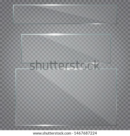 Glass plates set. Set of glass plates. Realistic. Vector glass banners on transparent background. EPS10