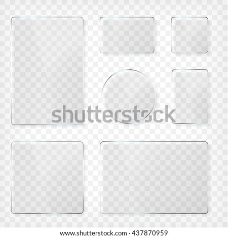 Glass plates set. Square shape, rectangle and round. See through mock up. Transparent elements. Plastic banners with reflection and shadow. Photo realistic vector illustration