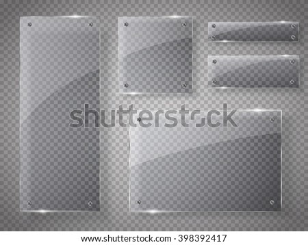 Shutterstock Glass plates set. Vector glass banners on transparent background.