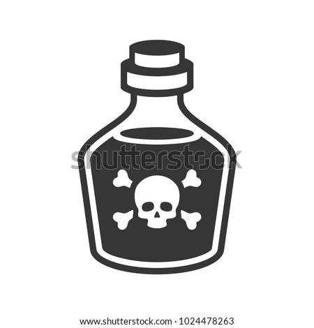 Glass Poison Bottle Icon on White Background. Vector