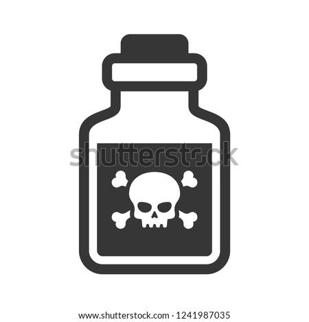 Glass Poison Bottle Icon on White Background. Vector Foto stock ©