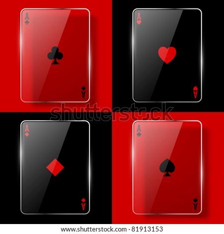 Glass poker aces. Vector illustration. Eps10 - stock vector