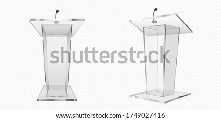 Glass pulpit, podium or tribune front side view. Rostrum stand with microphone for conference debates, trophy isolated on transparent background. Business presentation speech pedestal Realistic vector Zdjęcia stock ©