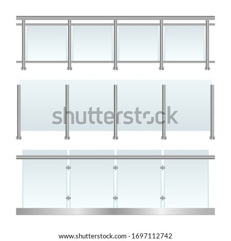 glass railing set vector design