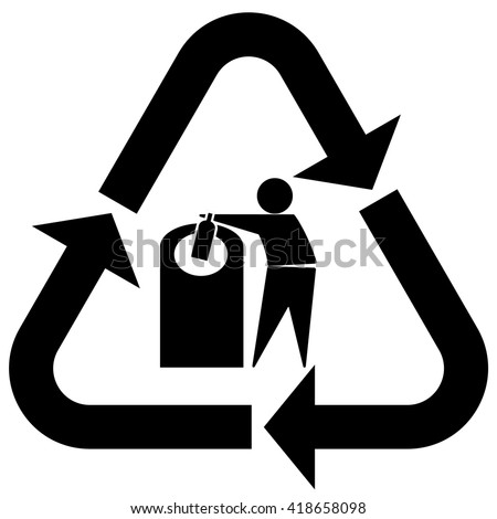 Glass recycling symbol tidy man, Glass recycling icon with tidy man and bottle, vector illustration