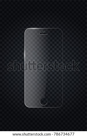Glass screen protector or glass cover. Vector screen protector for smartphone. Mobile cover accessory for display. Mobile accessory. Vector illustration EPS10