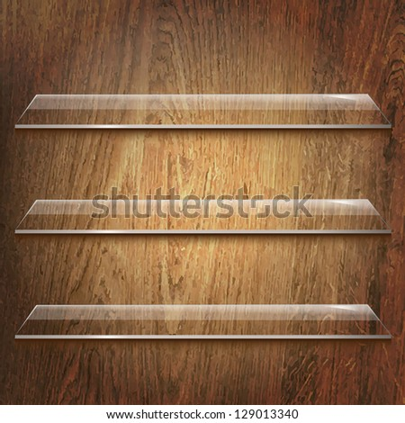Glass Shelves On Wooden Background With Gradient Mesh, Vector Illustration