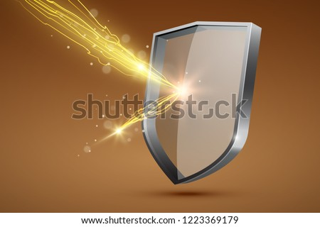 Glass shield and yellow lightning, firewall concept, vector illustration Foto d'archivio ©