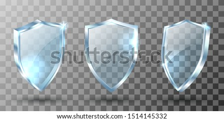 Glass shield realistic vector illustrations. Blank transparent blue acrylic glass panel with reflection and glow, award trophy or certificate template, front side view isolated on checkered background